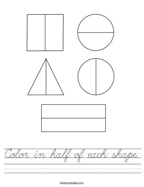 Color in half of each shape. Worksheet