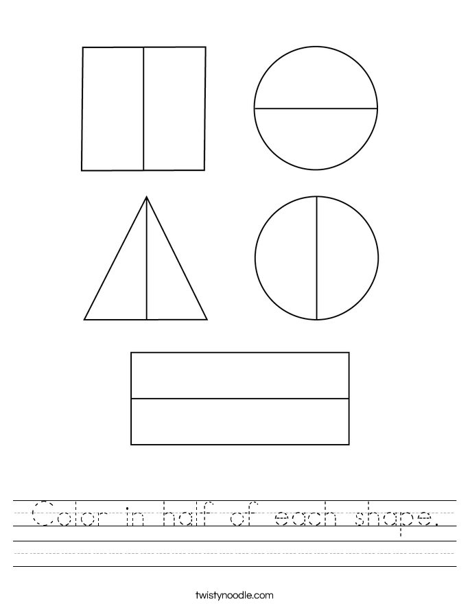 Color in half of each shape. Worksheet