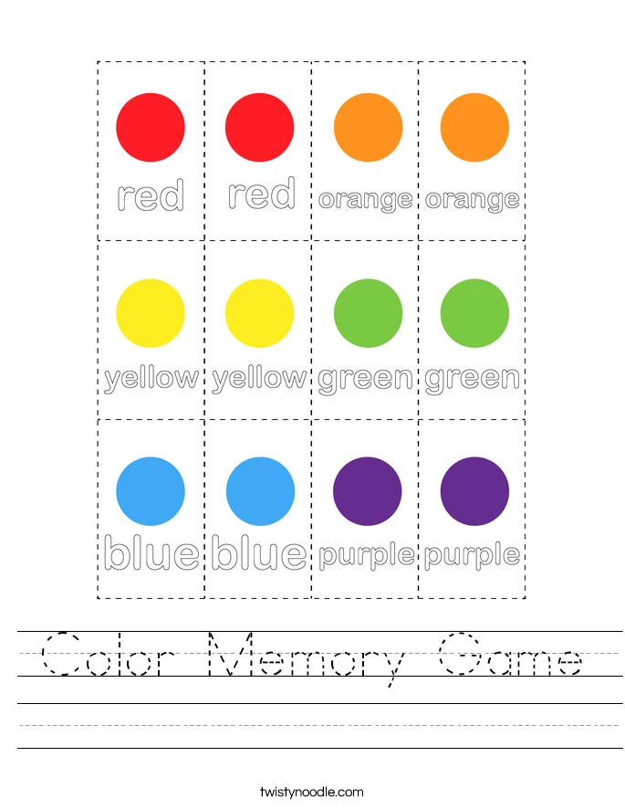Color Memory Game Worksheet