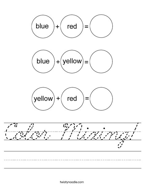 Color Mixing Worksheet