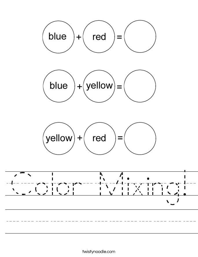 Worksheets Primary Colors Worksheet color mixing worksheet twisty noodle worksheet