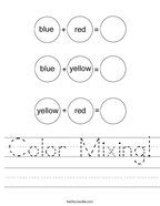 Color Mixing Handwriting Sheet