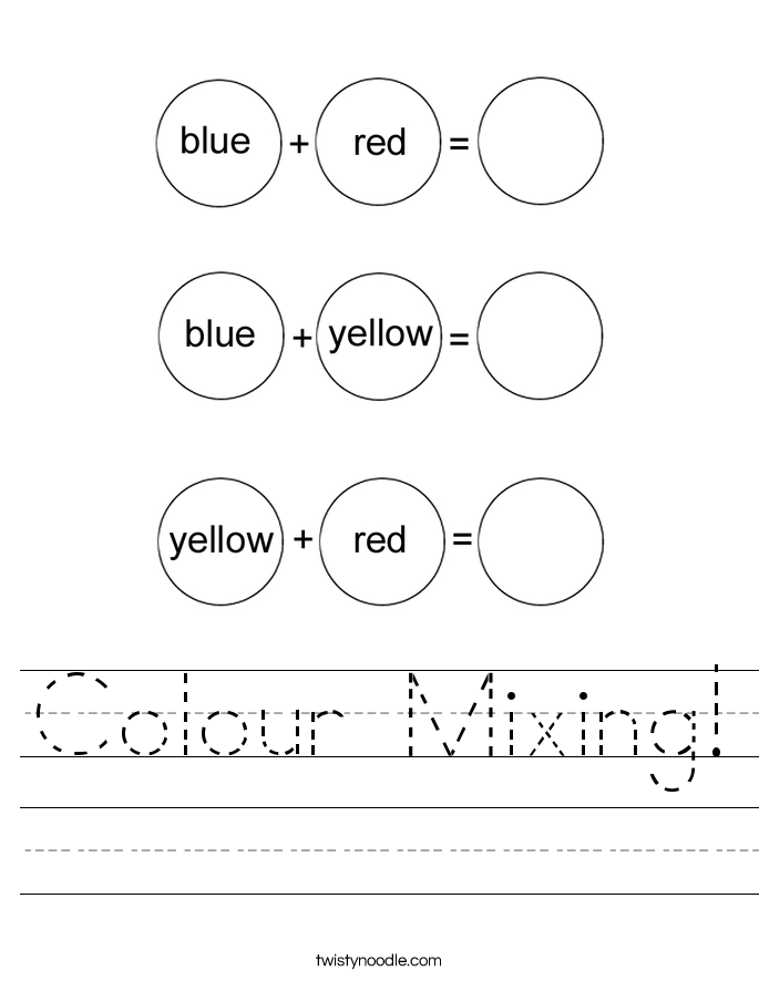 Colour Mixing! Worksheet