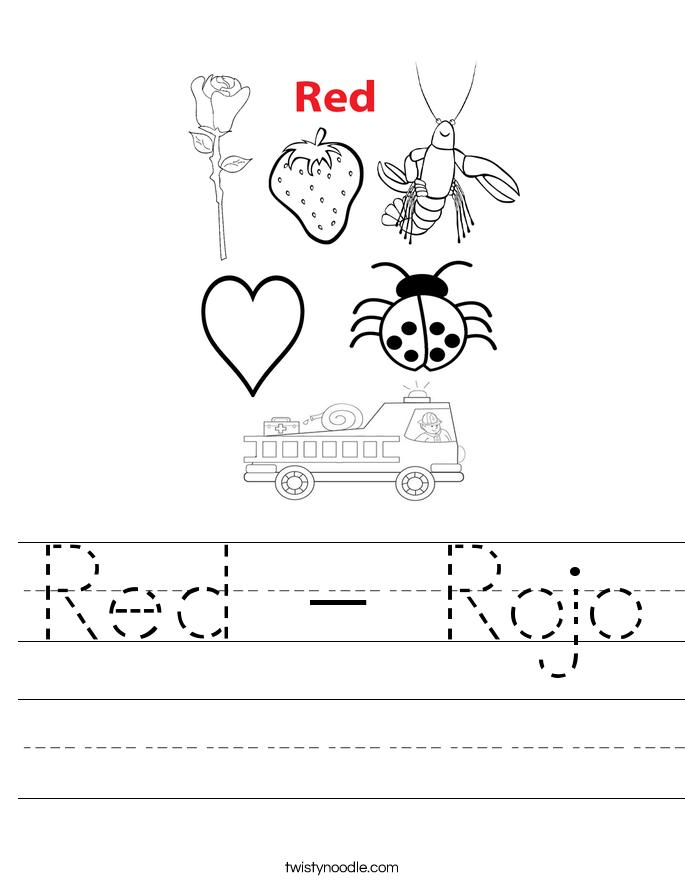 red rojo worksheet twisty noodle. Black Bedroom Furniture Sets. Home Design Ideas