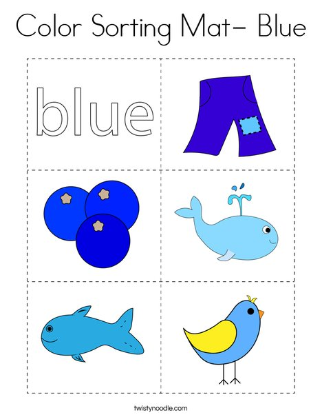Color Sorting Mat- Blue Coloring Page