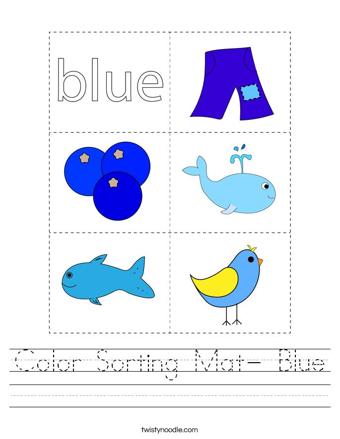 Color Sorting Mat- Blue Worksheet