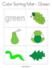 Color Sorting Mat- Green Coloring Page