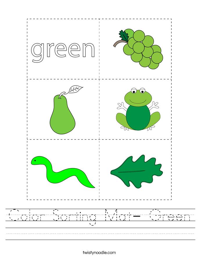 Color Sorting Mat- Green Worksheet