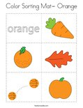 Color Sorting Mat- Orange Coloring Page