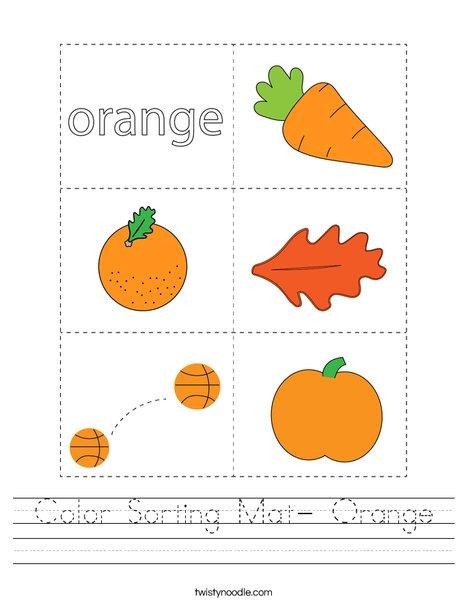 Color Sorting Mat- Orange Worksheet