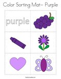 Color Sorting Mat- Purple Coloring Page