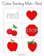 Color Sorting Mat- Red Coloring Page