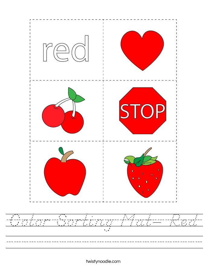 Color Sorting Mat- Red Worksheet