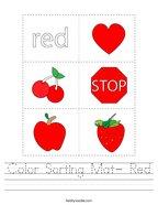 Color Sorting Mat- Red Handwriting Sheet