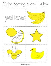 Color Sorting Mat- Yellow Coloring Page