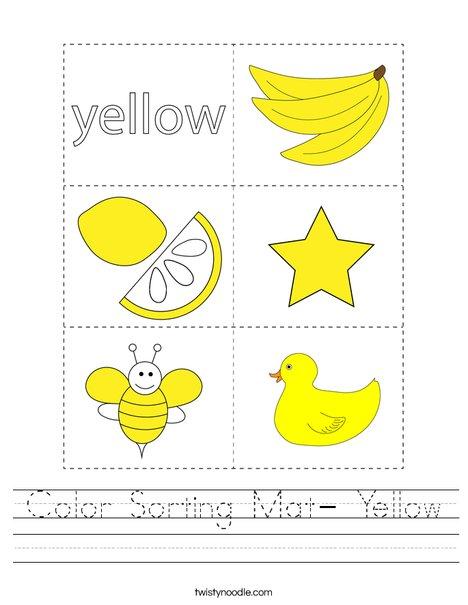 Color Sorting Mat- Yellow Worksheet