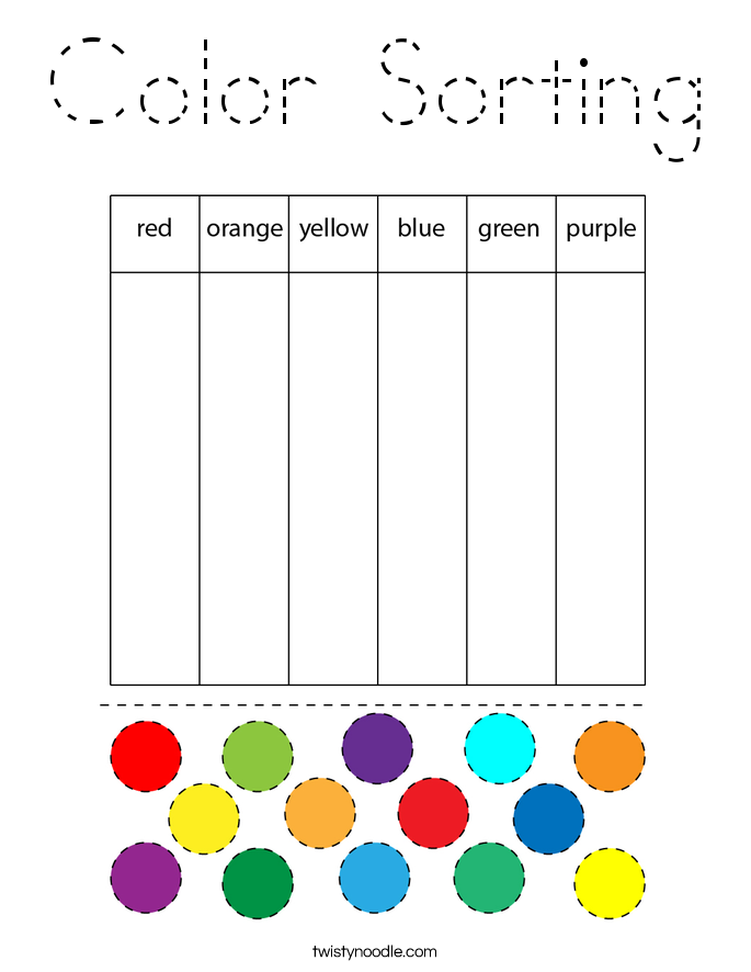 Color Sorting Coloring Page