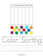 Color Sorting Handwriting Sheet