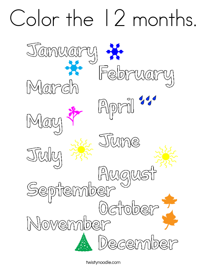 Color the 12 months. Coloring Page