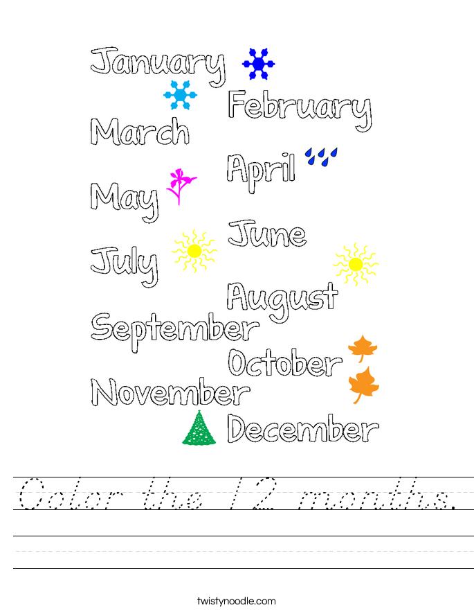 Color the 12 months. Worksheet