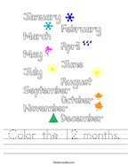 Color the 12 months Handwriting Sheet