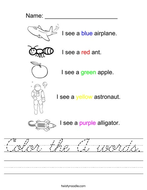 Color the A Words Worksheet