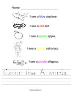 Color the A words Handwriting Sheet