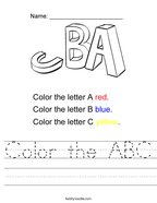Color the ABC Handwriting Sheet