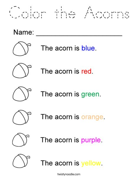 Color the Acorns Coloring Page