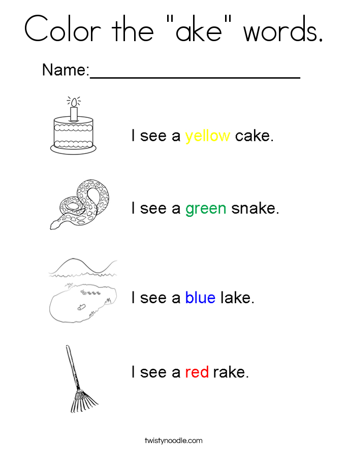 "Color the ""ake"" words. Coloring Page"