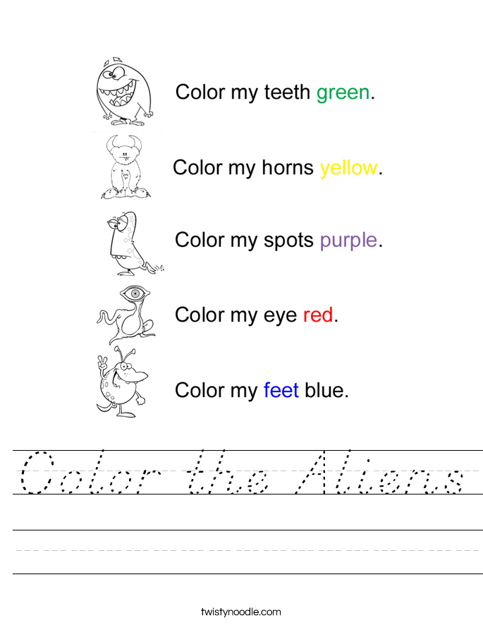 Color the Aliens Worksheet