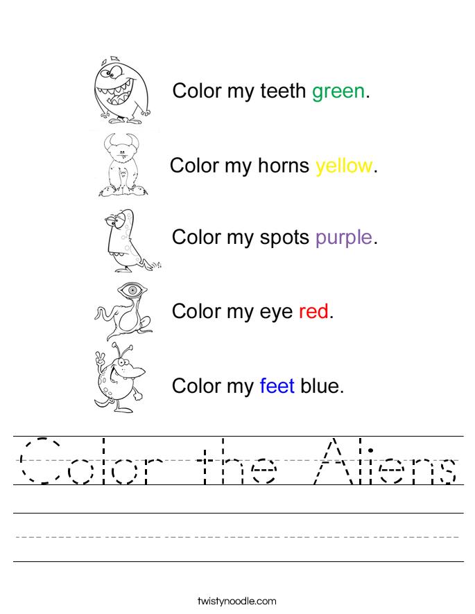 Color the Aliens Worksheet