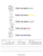Color the Aliens Handwriting Sheet