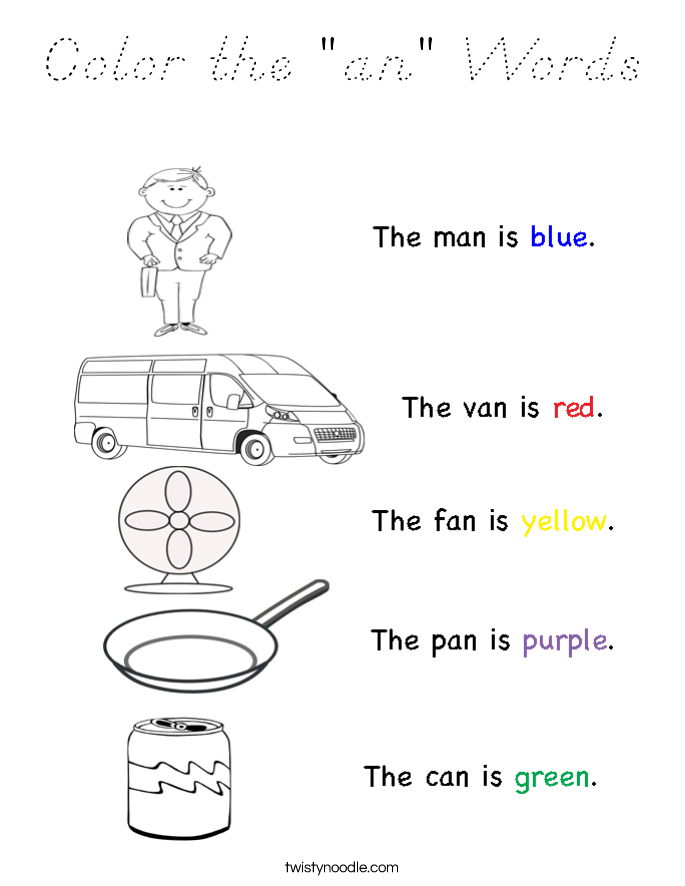 """Color the """"an"""" Words Coloring Page"""