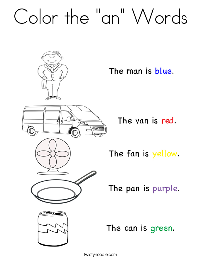"Color the ""an"" Words Coloring Page."