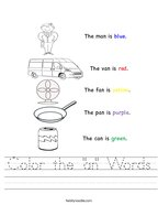 "Color the ""an"" Words Handwriting Sheet"