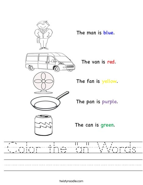 Color the AN Words Worksheet