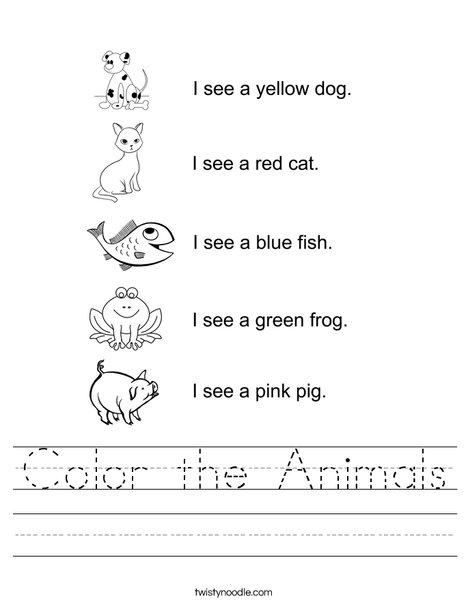 Color The Animals Worksheet - Twisty Noodle