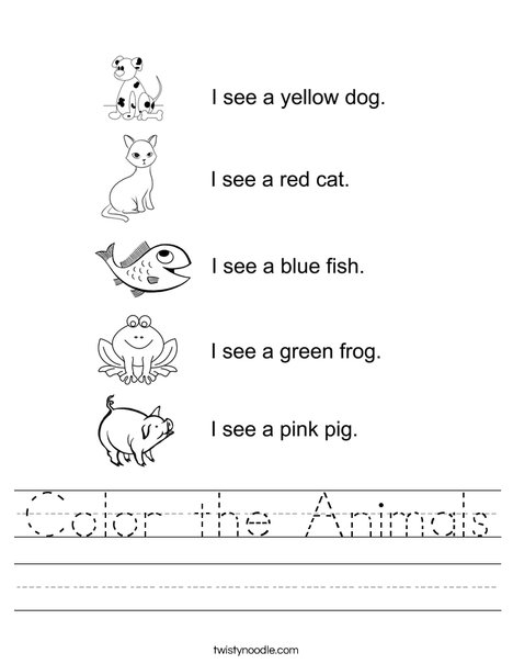 Color the Animals Worksheet - Twisty Noodle