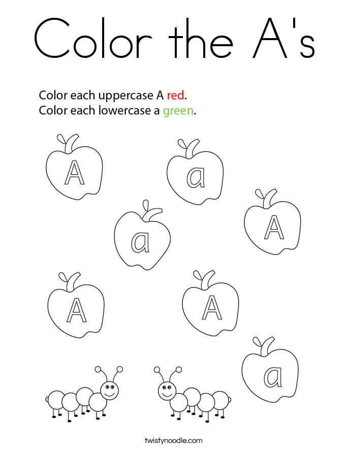 Color the A's Coloring Page