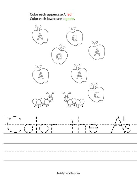 Color the A's Worksheet