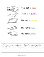 "Color the ""at"" words Handwriting Sheet"