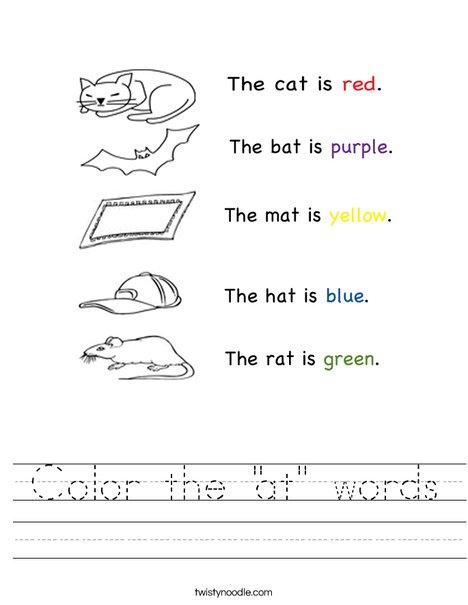 "Color the ""at"" words Worksheet - Twisty Noodle"