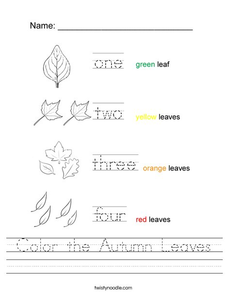 Color the Autumn Leaves Worksheet