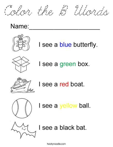 Color the B Words Coloring Page