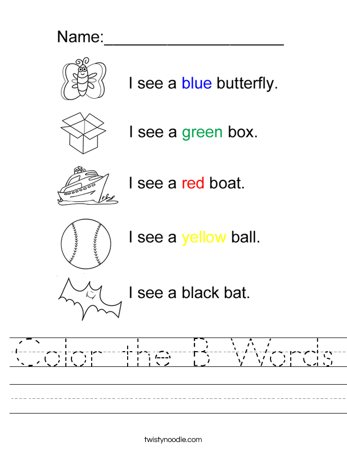 Color the B Words Worksheet