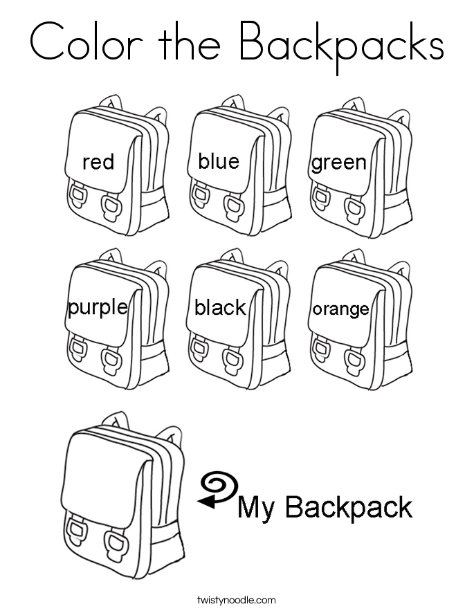Color the Backpacks Coloring Page Twisty Noodle