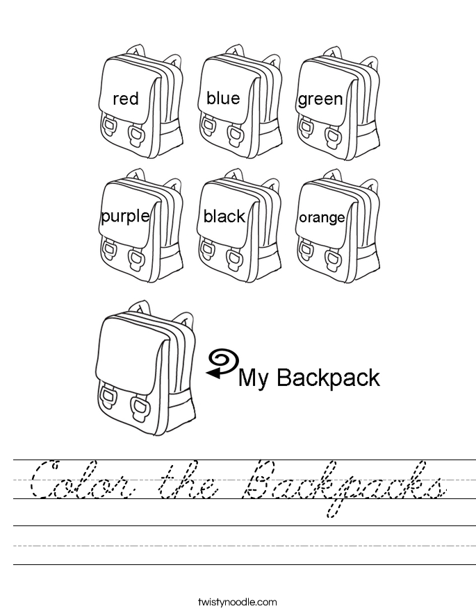 Color the Backpacks Worksheet