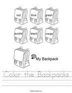 Color the Backpacks Handwriting Sheet