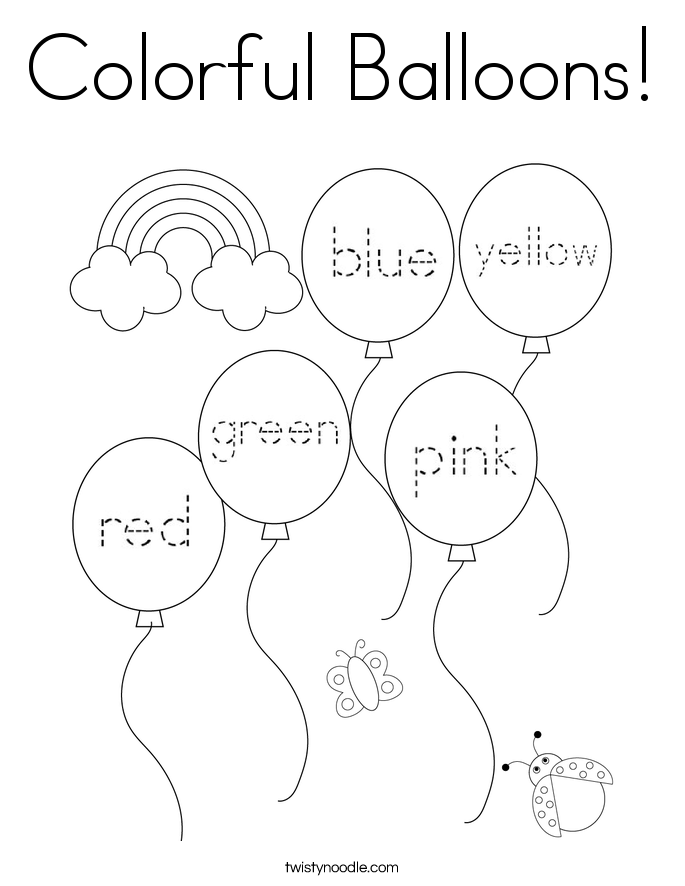 Colorful Balloons! Coloring Page